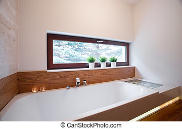 Un baño confortable en un baño elegante