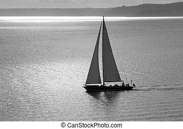 Un barco en Golden Sunset BW