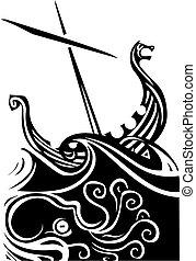Un barco vikingo navegando