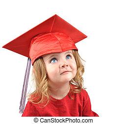 Un bebé de la escuela de graduados blanco