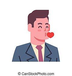 Un beso masculino, un icono emocional, un avatar, cara de expresión facial