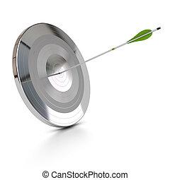 Un blanco de metal y una flecha verde golpeando el centro, concepto abstracto, fondo blanco