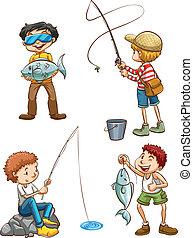 Un boceto de hombres pescando