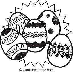 Un boceto de huevos de Pascua