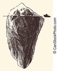 Un boceto de ilustración grabado en un barco de Iceberg