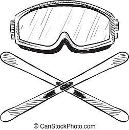 Un boceto del equipo de esquí acuático