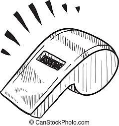 Un boceto del silbato de seguridad