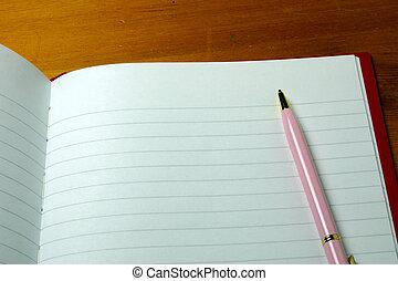 Un bolígrafo en un cuaderno
