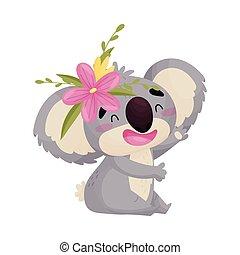 Un bonito koala humanoide con una flor. Ilustración de vectores sobre fondo blanco.