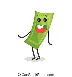 Un bonito y sonriente dinero de papel humanizado carácter, dinero y concepto de dibujo animado vector de ilustración