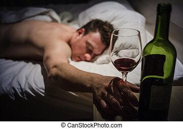 Un borracho solitario durmiendo