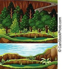Un bosque verde y un paisaje de río