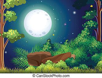 Un bosque verde y una luna llena brillante