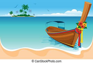 Un bote de cola larga