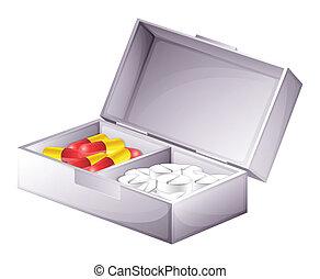 Un botiquín con pastillas y pastillas