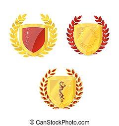 Un brillante emblema de oro clásico, aislado