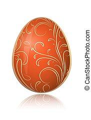 Un brillante huevo rojo de Pascua con sucursal floral decorativa. Ilustración de vectores.