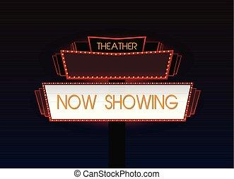 Un brillante letrero de neón de cine retro