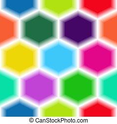 Un brillante patrón de hexágonos multicolores