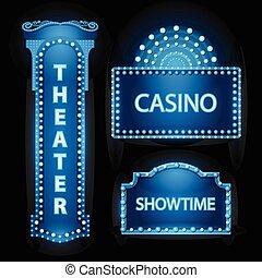 Un brillante y azul teatro con un letrero de neón retro cinematográfico