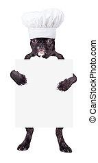 Un bulldog francés con sombrero de chef