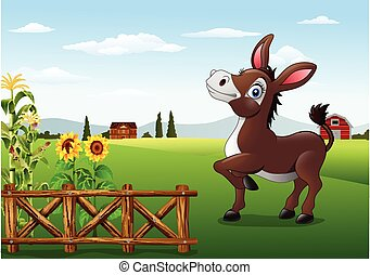 Un burro feliz de dibujos animados con granja