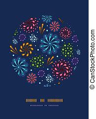 Un círculo de fuegos artificiales de vacaciones decorativos
