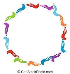 Un círculo de manos coloridas