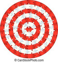 Un círculo de rompecabezas. Piezas concentradas como blanco.