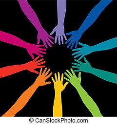 Un círculo diverso de manos