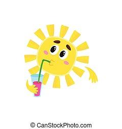 Un cóctel soleado, ilustración aislada de vectores de vectores