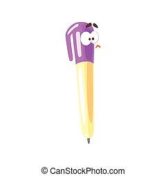 Un cómico cómico cómico de dibujos animados amarillos con gorra púrpura, vector de pintura humanizado de ilustración