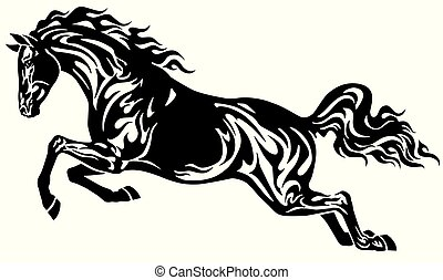 Un caballo negro saltarín