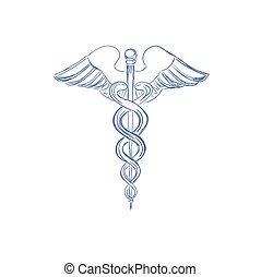 Un caduceo médico, estilo boceto