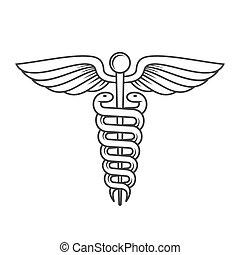 Un caduceo médico. Estilo de línea. Vector
