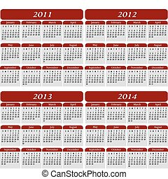 Un calendario de cuatro años en rojo