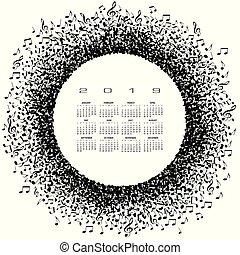 Un calendario de música 2019 con un círculo de notas