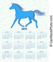 Un calendario vectorial de 2014 años con un caballo azul