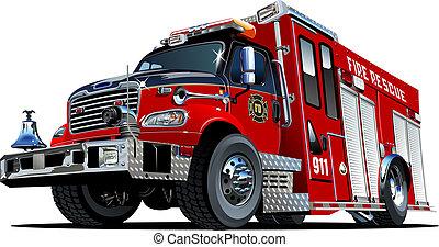 Un camión de bomberos de dibujos animados
