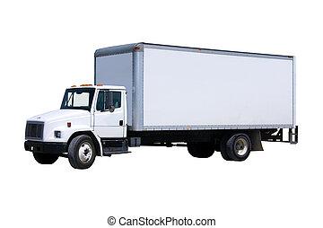 Un camión de reparto blanco aislado