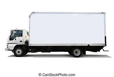 Un camión de reparto blanco