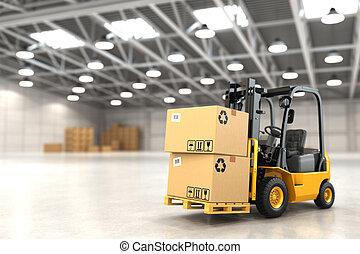 Un camión elevador en un almacén o cajas de cartón de carga.