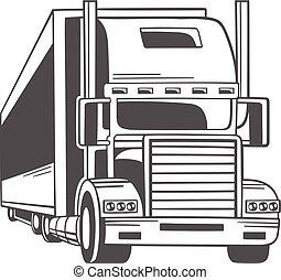 Un camión grande. Ilustración de vectores.