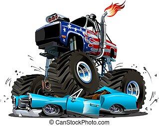 Un camión monstruo de dibujos animados