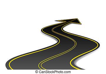 Un camino de forma de flecha
