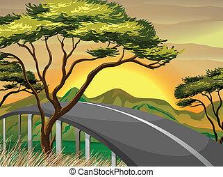 Un camino estrecho cerca de las montañas