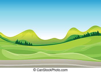 Un camino y un hermoso paisaje