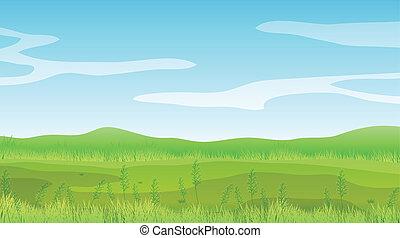 Un campo vacío bajo un cielo azul claro