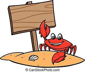 Un cangrejo con una señal de playa
