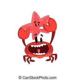 Un cangrejo feliz sosteniendo estrellas de mar lindos criaturas marinas con caras graciosas vector de ilustración en un fondo blanco